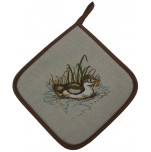 Potholder with duckling printed 51% linen 49% cotton