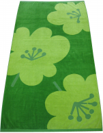 Beach towel 98x183 cm green flowers 100% cotton jacquard