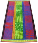 Drap de plage 100x185cm  lignes, vagues, ronds, quadrillages 100% coton jacquar