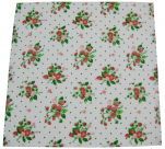 Serviette fraise des bois 42x42 cm tergal 65% polyester 36% coton avec pastilles