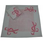 Essuie vaisselle 65X65 imprimé noeud rose 56% lin 44% coton