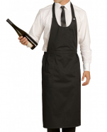 Tablier sommelier polycoton 65/35 noir 245 gr/m² 3 poches attaché côté par 2 dés