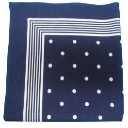 Foulard bleu à pois blanc 100% coton 55x55 cm e11885877e2