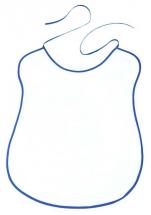Bavoir uni blanc avec bord/biais bleu roi 100% coton 41x57 cm