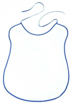 White bib with royal blue outline, 100% cotton, width 41 cm x height 57 cm