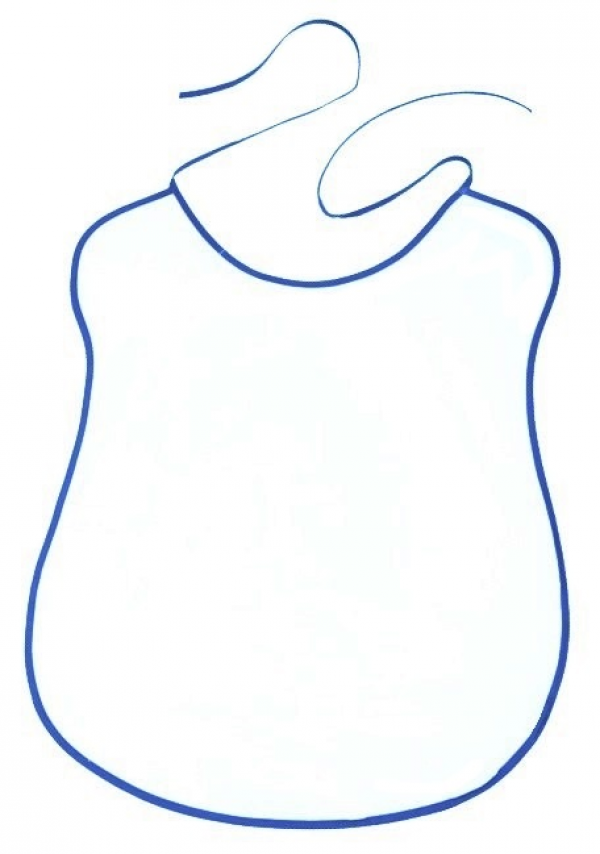 White Bib With Royal Blue Outline 100 Cotton 41x5