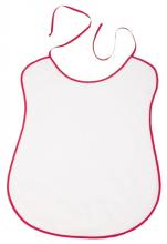 Bavoir uni blanc avec bord/biais  rouge 100% coton 41x57 cm