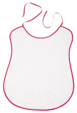 White bib with red outline, 100% cotton, width 41 cm x height 57 cm