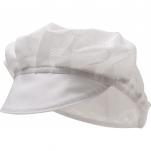 Casquette alimentaire blanc gavroch maille aérée visière 65%polyester 35%coton