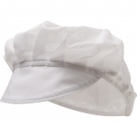 White food cap, ventilated mesh with visor 65% polyester and 35% cotton