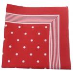Foulard rouge à pois blanc 100% coton 55x55 cm