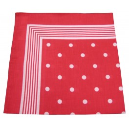 Red scarf with white dots 100% cotton 60x60 cm