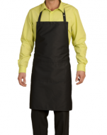 Black bib apron central pocket pressures 65/35 polycotton 84X68 cm
