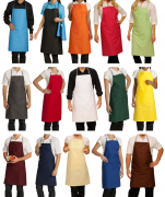 Bib apron colors, liens coulissants, central pocket, 65/35 polycotton