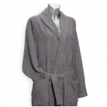Bathrobe with shawl collar 100% cotton grey