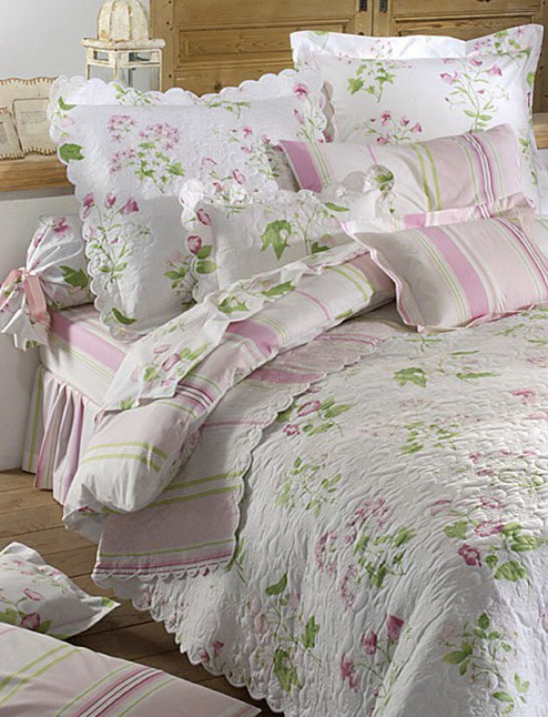 Boutis couvre lit tendresse florale 100 percale - Couvre lit broderie florale ...