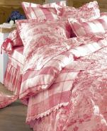 Boutis réversible Toile de Jouy Rouge 100% coton percale, repassage facile