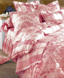 Boutis Bed Cover Toile De Jouy Red 100 Cotton P