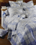 Reversible Boutis Toile de Jouy blue 100% cotton percale, easy iron