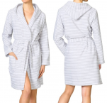 Bathrobe with hood, 100% cotton terry, length 100 cm, gray stripes
