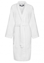 Shawl collar bathrobe 100% cotton, 430 g/m², White