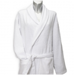 Bathrobe with shawl collar 100% cotton white