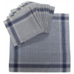 Mouchoirs de travail 40x40 cm fond blanc quadrillé bleu 100% coton par 12 pièces