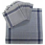Work handkerchiefs 40x40 cm blue and white 100% cotton 12 pieces