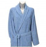 Bathrobe with shawl collar 100% cotton blue