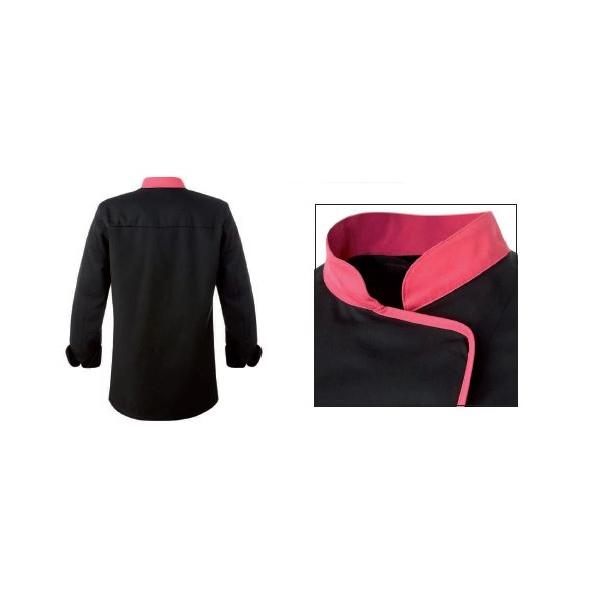 Zwarte jas met roze fuchsia beleg polykatoen - Roze keuken fuchsia ...