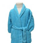 Children's bathrobe towelling 100% cotton aqua