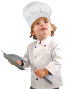 White children's chef jacket rounded collar colored press studs polycotton