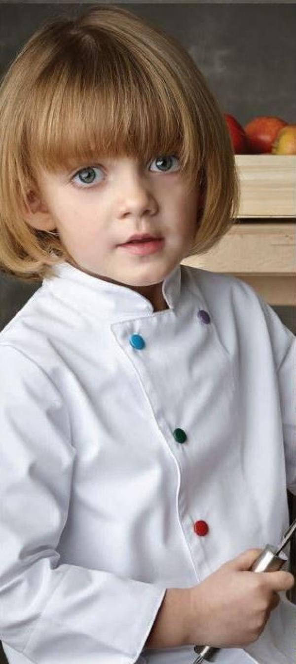 veste de cuisine blanche pour enfant polycoton. Black Bedroom Furniture Sets. Home Design Ideas