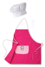 Apron pink fuschia for children p'tite chef + white hat adjustable by velcro