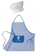 Tablier bavette bleu et blanc rayé p'tit chef + toque blanche réglable velcro