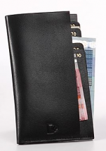 Genuine black leather billfold  with 6 bill compartments, 10x18 cm