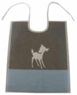 Bib ivory fawn 33x40 cm100% cotton blue and gray