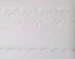 Dentelle broderie anglaise 100% coton blanc coeurs 60mm