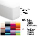 Drap housse 95% coton et 5% elasthane 250 gr pour matelas 40 cm lavable 60°C