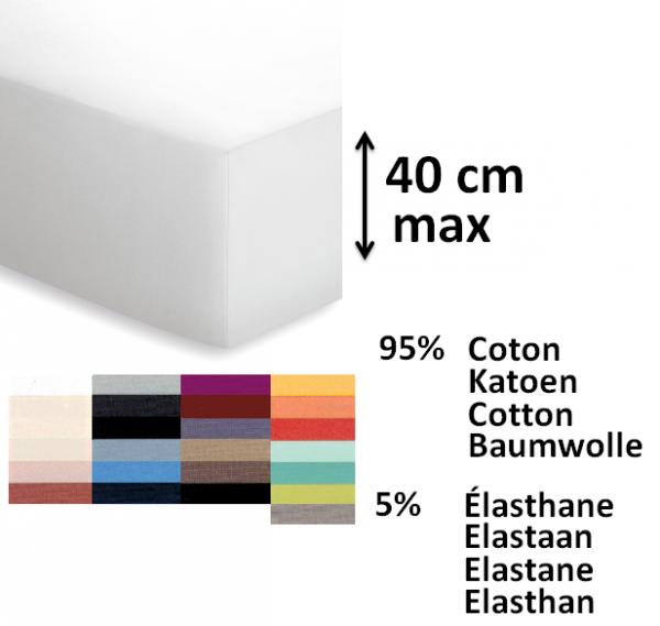Drap housse 95 coton 5 lasthane matelas de 40 cm - Drap housse pour matelas gonflable ...