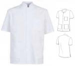 Tunique unisexe col officier polyester/coton 65/35 manches courtes 3 poches