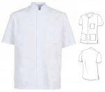 Unisex tunic stand-up collar polyester/cotton 65/35 short sleeves 3 Pockets