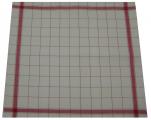 Essuie vaisselle 65x70 cm mixte écru hotel bord et quadrillage rouge