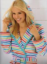 Peignoir col châle capuche 100% coton velours lignes multicolores 115 cm