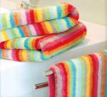 Serviette 50x100 cm 100% coton éponge lignés multicolores double face