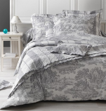 Reversible Boutis Toile de Jouy grey 100% cotton percale, easy iron