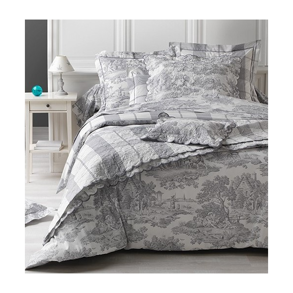boutis couvre lit toile de jouy gris 100 coton. Black Bedroom Furniture Sets. Home Design Ideas