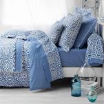 Boutis réversible Athena Grec Bleu 100% coton percale, repassage facile