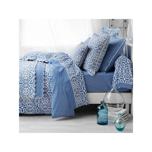 boutis couvre lit athena grec bleu 100 percale. Black Bedroom Furniture Sets. Home Design Ideas
