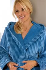 Peignoir col châle capuche 100% coton velours lignes bleues 115 cm